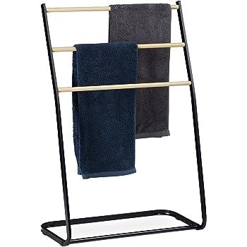 Toallero negro de pie metal,65/×20/×110CM 2-brazo carril de toalla de ba/ño