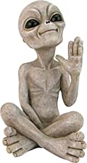 Design Toscano LY612303 Greetings Earthlings UFO Alien Statue, Small-Sitting, Sandstone