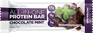 JJ Virgin All-in-One Protein Bar in Chocolate Mint - Fiber-Rich Vegan Snack Promotes Enhanced Energy, 12 Grams of Protein, 9 Grams of Fiber & MCT Oils (Box of 12)