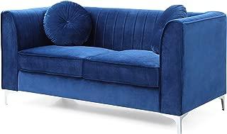 Glory Furniture Delray Loveseat, Navy Blue. Living Room Furniture, 32