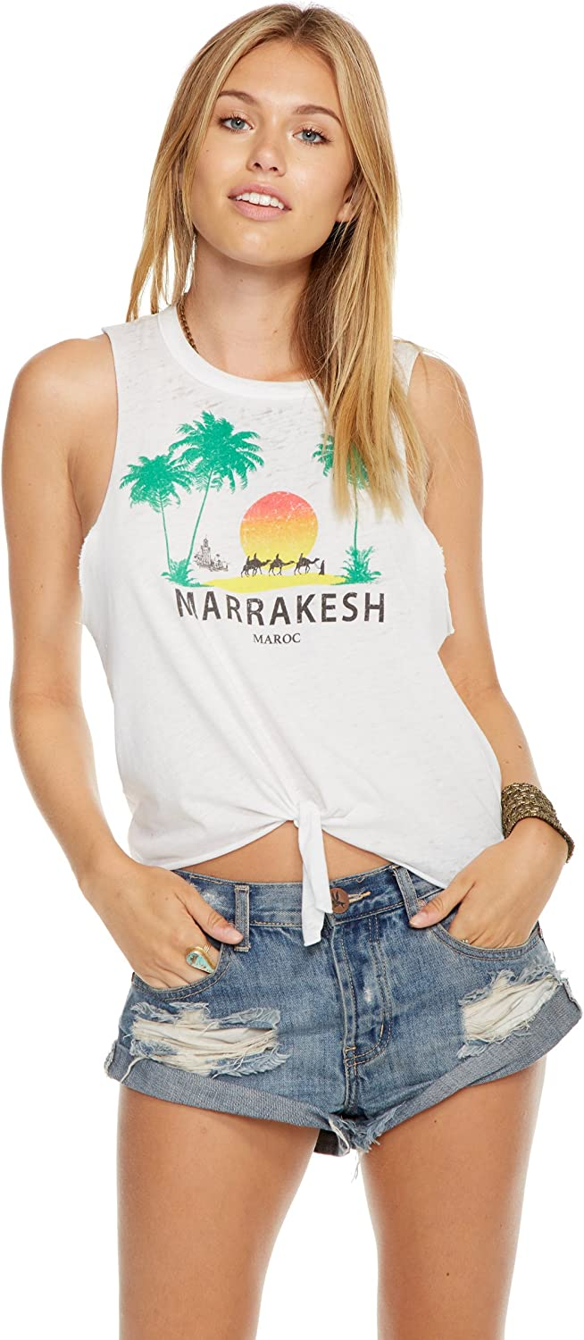 Chaser Clothing Vintage Grey 'MARRAKESH' Tie Front Muscle Tee Tank
