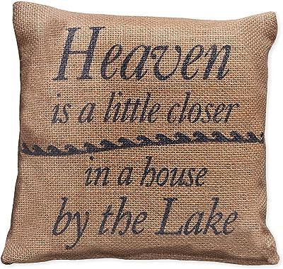 Small Burlap Heaven Lake Pillow 8x8 Home Kitchen