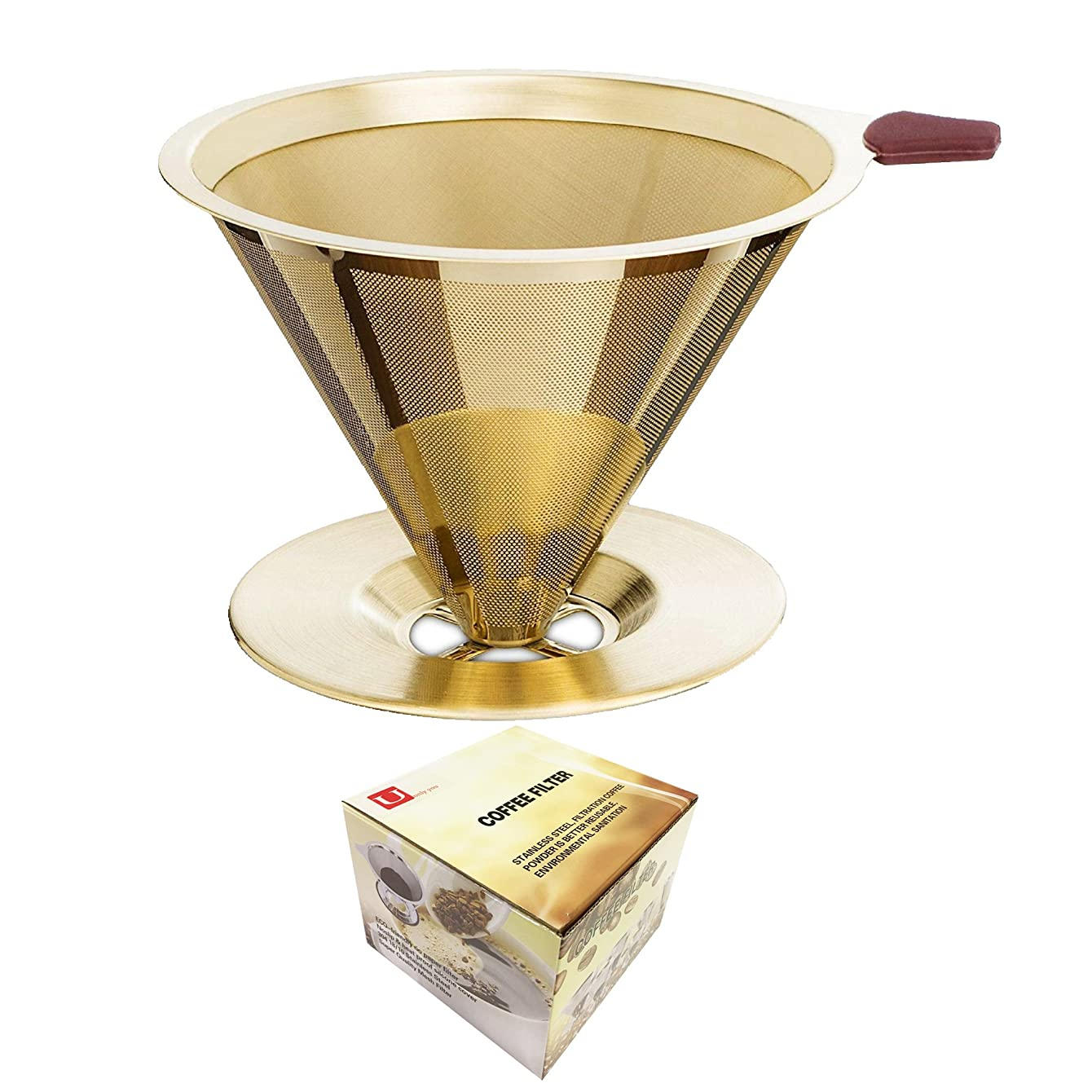 U only you Pour Over Gold Coffee Filter,Titanium Coated Permanent Coffee Dripper with Cup Stand,Double Layered Filter,Paperless Reusable Stainless Steel Cone Coffee Maker,1-4 Cups (Titanium Gold)