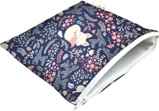 """Itzy Ritzy Reusable Snack Bag – 7"""" x 7"""" BPA-Free Snack Bag is Food Safe, Washable and Ideal for Storing Snacks, Pacifiers, Electronics and Makeup in a Diaper Bag, Purse or Travel Bag, Fox Hollow"""