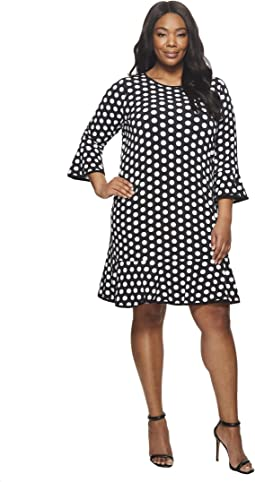 Plus Size Simple Dot Flounce Dress
