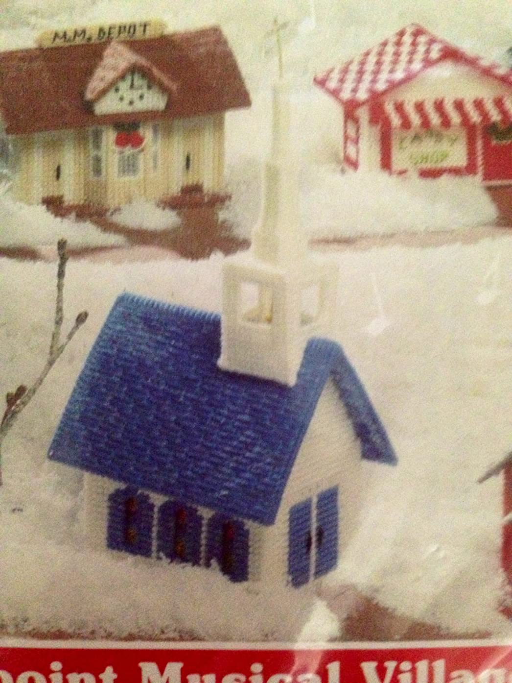 Mary Maxim Vintage Exclusive Needlepoint Musical Village Christmas Craft Kit, Church