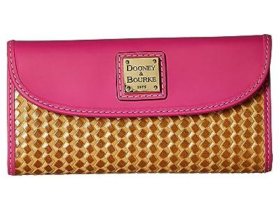 Dooney & Bourke Beacon Woven Continental Clutch (Sand/Magenta Trim) Clutch Handbags