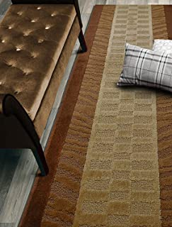Custom Size Zebra Hallway Runner Rug Slip Resistant, 26 Inch Wide x Your Choice of Length Size, Brown, 26 Inch X 18 Feet, Sold and Priced Per Foot