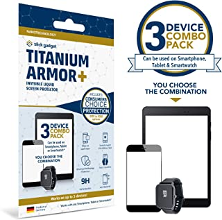 Slick Gadget Liquid Glass Screen Protector up to $500 Screen Replacement Option, fits Any Phone, Tablet and Smartwatch, Protects 3 Devices, Only Certified Product on Amazon (Add-On Coverage Available)