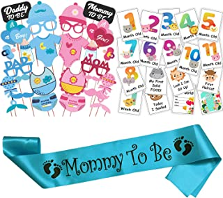 WOBBOX Baby Shower Combo of Photo Booth Party Props, Sash and Milestone Cards - Combo TE