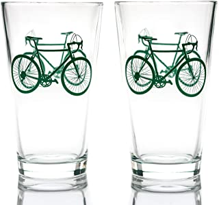 Greenline Goods - Bicycle Beer Glasses (Set of 2)  16 oz Drinkware with Colorful Cyclist Designs   Premium Decorative Glas...