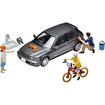 トミーテック ジオコレ64 1/64#カースナップ02b 洗車 ホンダ シビック 25X・S-リミテッド 付属 ABS・PVC製 塗装組立済 人形・小物 & ダイキャスト製 完成ミニカーセット 314875