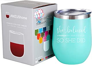 She Believed She Could so She Did Mug.Graduation, Congratulations, Inspirational,Birthday Gifts for Women,Girls,Daughter,Best Friend Wine Glasses Tumbler(Mint Green)