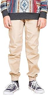Boys' Big Twill Jogger Pants Soft Stretch Slim Fit Trousers