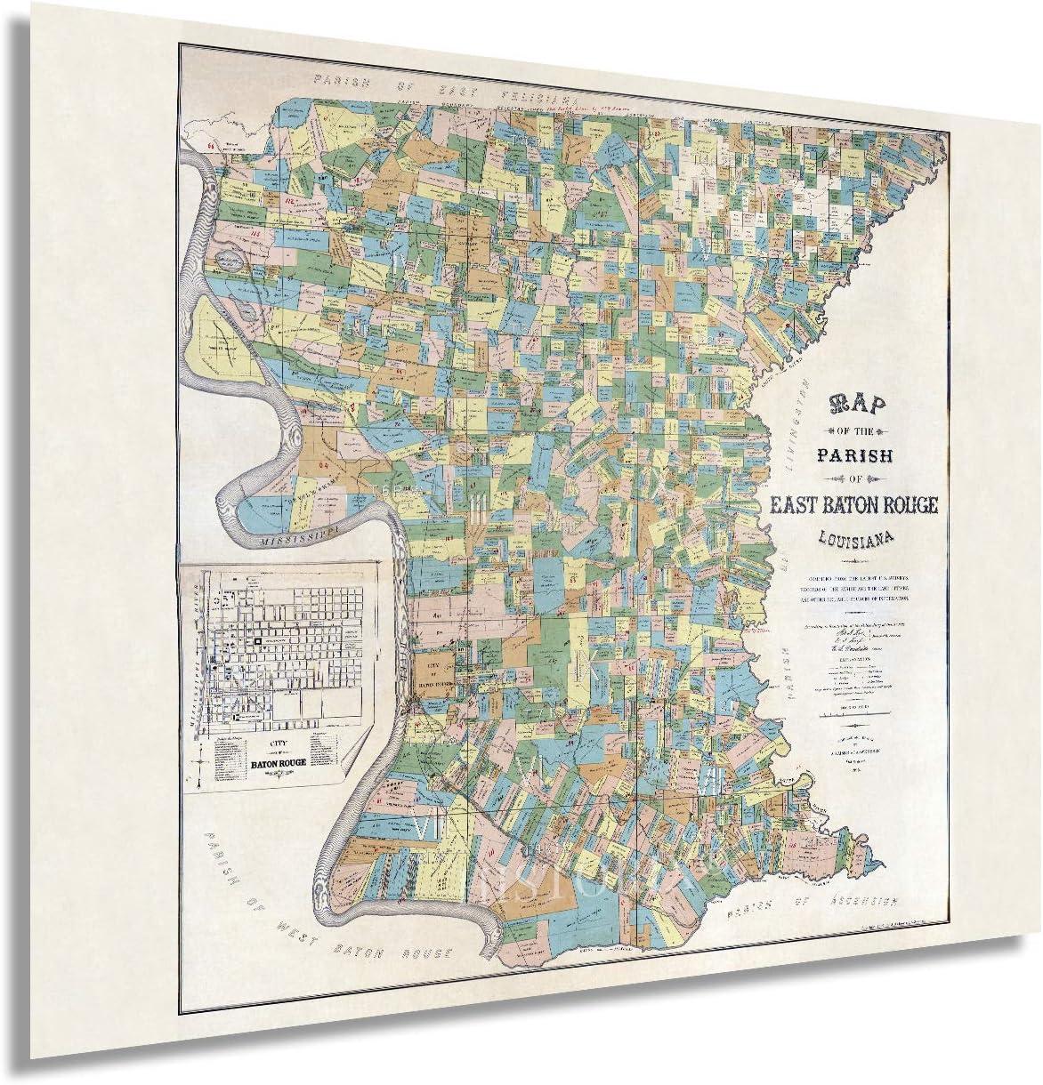 HISTORIX Vintage ◆セール特価品◆ 1895 East Baton Rouge Map 24 Louisiana ラッピング無料 Poster -