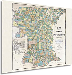 HISTORIX Vintage 1895 East Baton Rouge Louisiana Map Poster - 24x30 Inch Vintage Map of The Parish of East Baton Rouge LA ...