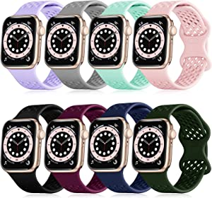 FAKIDOM [8-Pack] Sport Band Compatible with Apple Watch Bands 44mm 42mm 40mm 38mm for Women Men, Breathable Soft Silicone Wristbands, Strap Replacement for iWatch SE/Series 6/5/4/3/2/1(42/44-S)