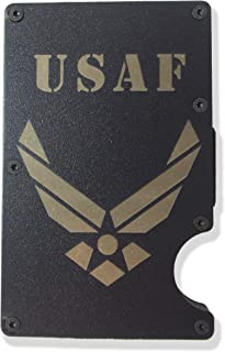 Air Force Engraved Metal RFID Blocking Tactical Minimalist Wallet w/Money Clip USAF