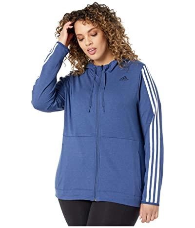 adidas Plus Size 3 Stripe Training Full Zip Hoodie Jacket (Tech Indigo) Women