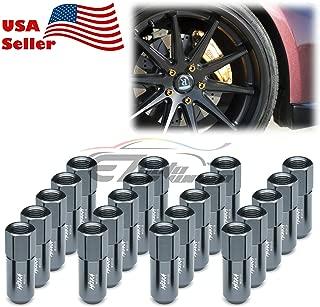 EZAUTOWRAP Gunmetal 20 PCS M12x1.25 Lug Nuts 60mm Extended Tuner Aluminum Wheels Rims Cap WN02