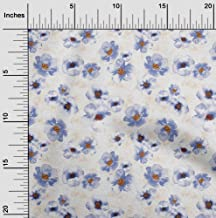 oneOone Velvet Grayish Blue Fabric Watercolor Floral DIY Clothing Quilting Fabric Print Fabric by Yard 58 Inch Wide
