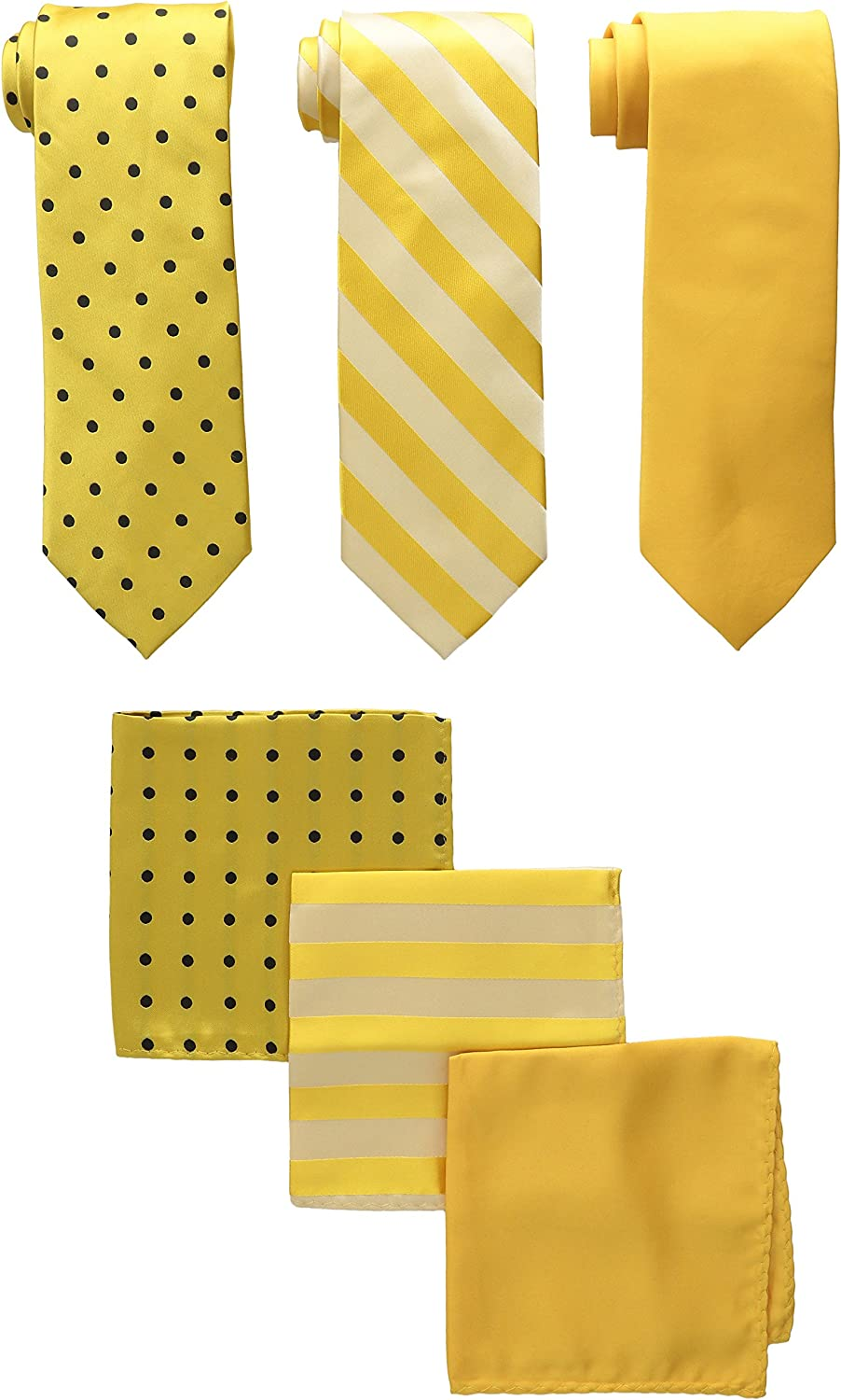STACY ADAMS mens 3 Pack Satin Neckties Solid Striped Dots With Pocket Squares