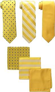 STACY ADAMS مردانه 3 بسته گردنبند ساتن نقاط راه راه جامد با مربع جیبی