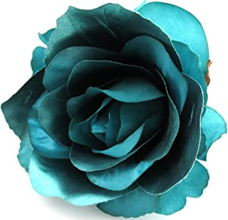 4 1/2 inch Shiny Teal Blue Rose Poly Silk Flower Hair Clip