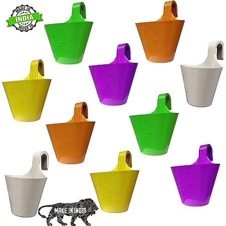 TechHark Plastic Hanging Planter For Flower Pots, Multicolour, LxB - 29 x 22 cm, 10 Pieces
