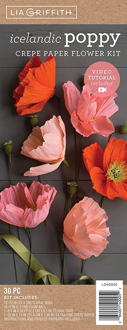 Lia Griffith LG40005 Crepe Paper Flower Kit, Icelandic Poppy, Assorted Sizes, Assorted Colors, 30 Pieces