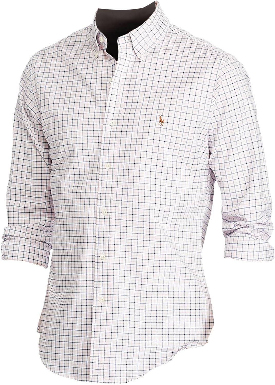 Polo Ralph Lauren Men's Slim-Fit Plaid Stretch Oxford Button-Down Shirt (2XL, Pink/White)