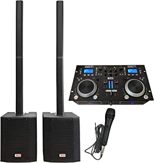DJ System - Audio Mixer, Bluetooth, USB MP3 Player, CD Players - Column Speaker Array System, 2400 watts, 15