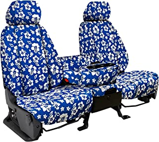 Third Row SEAT: ShearComfort Custom Hawaiian Seat Covers for Chevy Tahoe (2000-2006) in Blue for 50/50 Split Bench w/Adjustable Headrests and Seatbelts in Backrest
