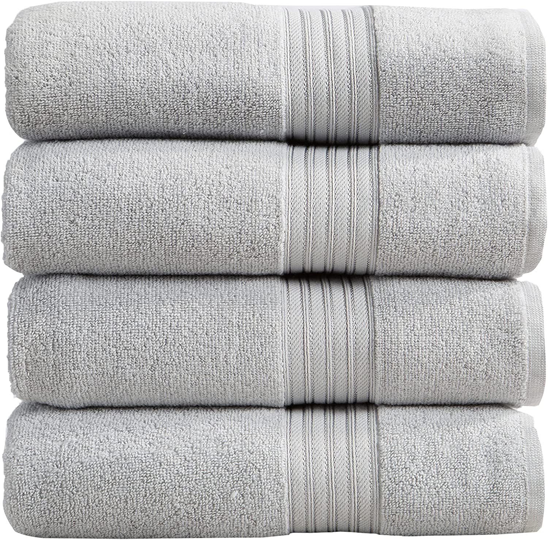 4-Pack Bath Towel Discount mail order Set. 100% Towels. Cotton Bathroom Absorbent Qu OFFicial site