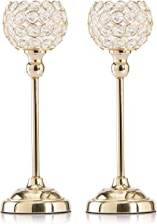 Skyera Gold Crystal Candle Holders, Pack of 2 Dining Table Centerpiece Candlesticks Home Decoration for Valentines Day/Wedding/Thanksgiving/Birthday/Housewarming (13 Inch)