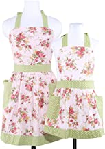 NEOVIVA Kitchen Aprons with Pockets for Mama and Me, Matching Mother and Daughter Aprons Set for Cooking, Baking, BBQ and Gardening, Style Diana, Floral Quartz Pink