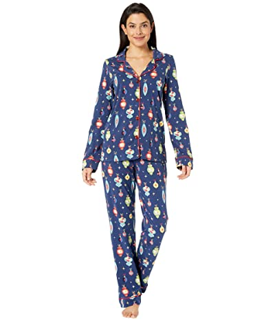 BedHead Pajamas Long Sleeve Classic Notch Collar Pajama Set (Snoopy Ornaments) Women