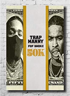 Posters and Prints Trap Manny & Pop Smoke Collect 50K Album Music Wall Art Painting for Living Room Home Decor -50x70 cm N...