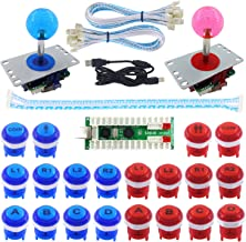 SJ@JX 2 Player Arcade Game DIY Kit LED Button Zero Delay USB Encoder 2 Player Mechanical Keyboard Switch Arcade Joystick Controller PC Raspberry Pi 2/3