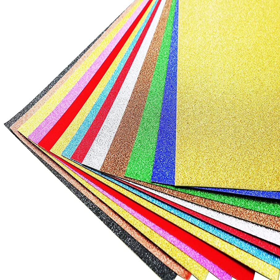 Teemico 12 Pcs Glitter Cardstock Paper Metallic Sparkle Paper for Card DIY Crafts Gift Box Wrapping Birthday Party Decorations Scrapbook (Mixcolor)