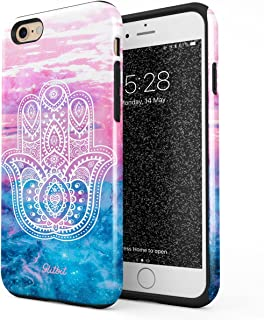 Glitbit Compatible with iPhone 6 Plus iPhone 6s Plus Case Hamsa Fatima Hand Luck Symbol Mandala Henna Paisley Landscape Mountains Pattern Shockproof Dual Layer Hard Shell + Silicone Protective Cover