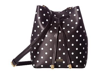 LAUREN Ralph Lauren Dryden Polka Dot Print Debby II Drawstring (Black/Optic White) Handbags