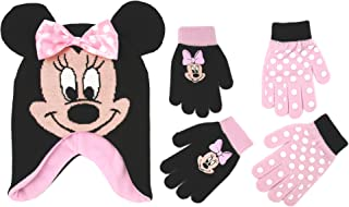 Little Girls Minnie Mouse Polka Dot Hat and 2 Pairs Mittens or Gloves Cold Weather Accessory Set, Ages 2-7 (Little Girls Ages 4-7 Hat & 2 Pair Gloves Set, Black/Light Pink)