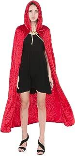 Hooded Velvet Cloak Halloween Women Witch Cape Costume Accessory