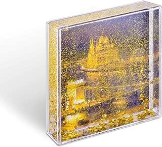 Kingho Acrylic Liquid Glitter Photo Frame Photo Gifts Floating Glitter 1pcs (L(4x4 Golden)