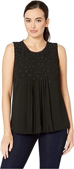Sleeveless Pleat Front Blouse