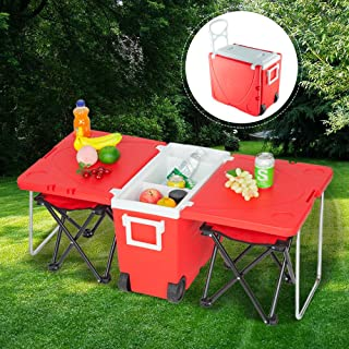 Goujxcy Upgraded Rolling Cooler Picnic Table Multi Function for Picnic Fishing Portable Storage Food Beverage Included Foldable Table W/Two Chairs Camping Trip Cooler