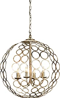 Currey and Company 9961 Tartufo 4-Light Chandelier, Antique Silver Leaf Finish