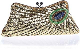 BABEYOND 1920s Flapper Peacock Clutch Gatsby Sequined Evening Handbag Beaded Bag