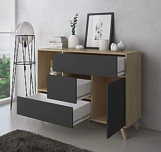 SelectionHome - Mueble Aparador Salon Comedor 1 Puerta y 3 cajones Buffet modelo Wind Color Puccini y Gris Antracita M...